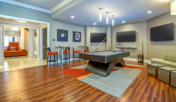 game room at Elan City Center Apartments