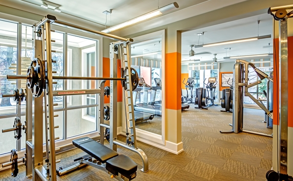 fitness center at Elan City Center Apartments