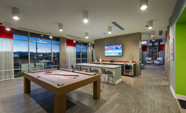 game room at 1000 S. Broadway Apartments