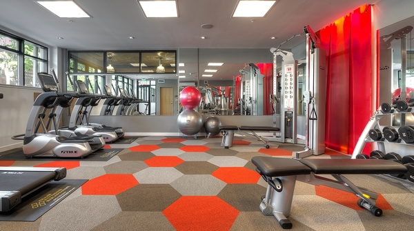 fitness center at Ray Apartments