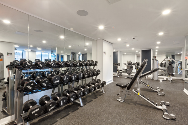 fitness center at The Lanthian Apartments