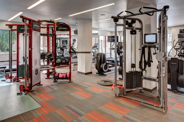 fitness center at One City Block Apartments