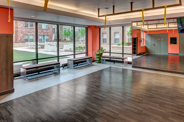 yoga/spin studio at One City Block Apartments