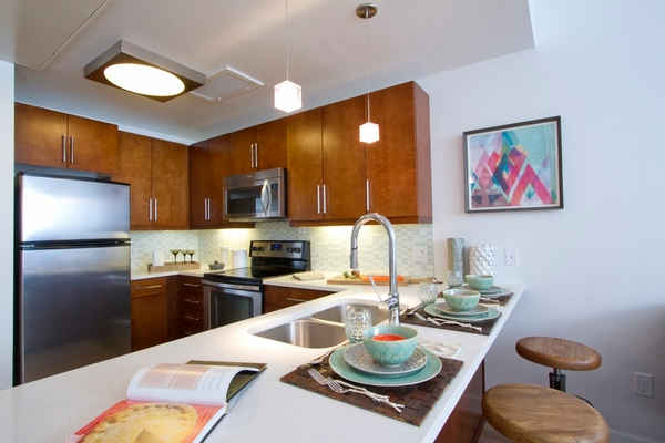 kitchen at One City Block Apartments