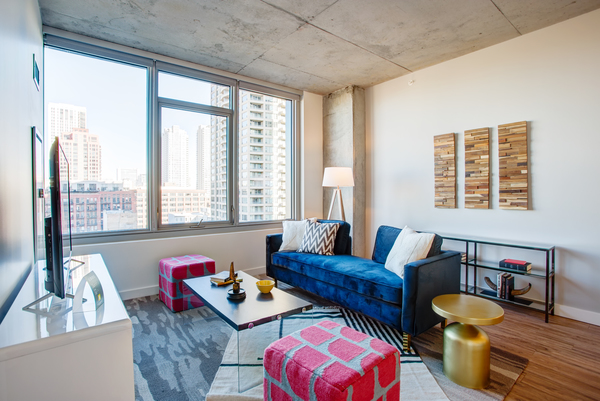 living room at EMME Chicago Apartments