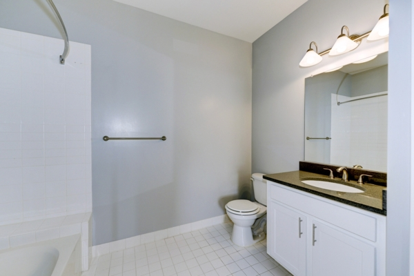 bathroom at Aventine at Fort Totten, A Greystar Avana Community