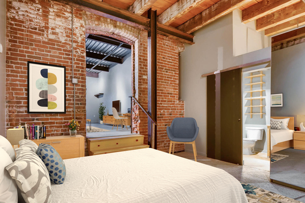 bedroom at Albers Mill Lofts Apartments