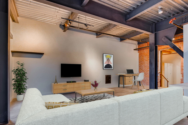 living room at Albers Mill Lofts Apartments
