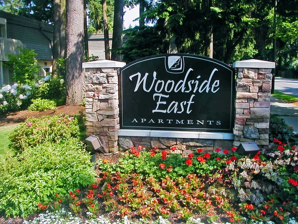 sign at Woodside East Apartments