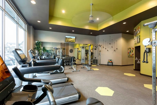 fitness center at Outlook Golden Ridge Apartments