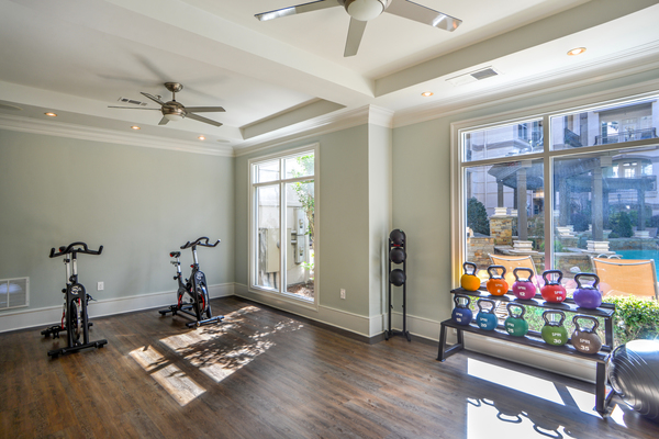 yoga/spin studio at Avana Uptown Apartments