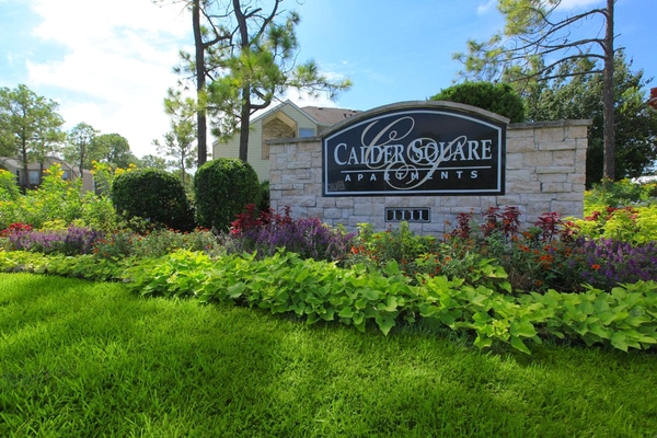 exterior signage at Calder Square Apartments