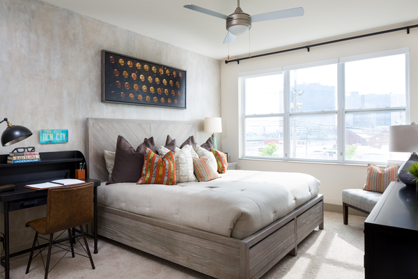 bedroom at Steel Works Apartments