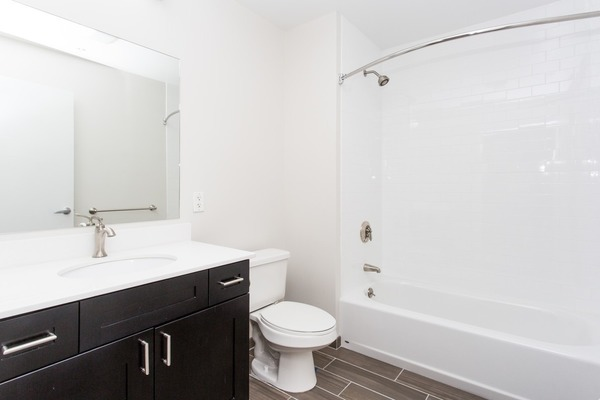 bathroom at James and Harrison Court Apartments
