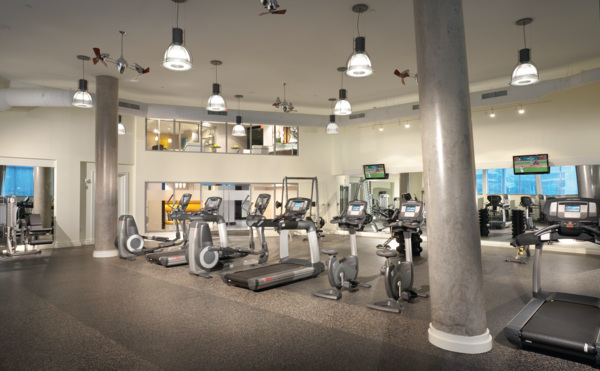 fitness center at The Lofts at Park Crest Apartments