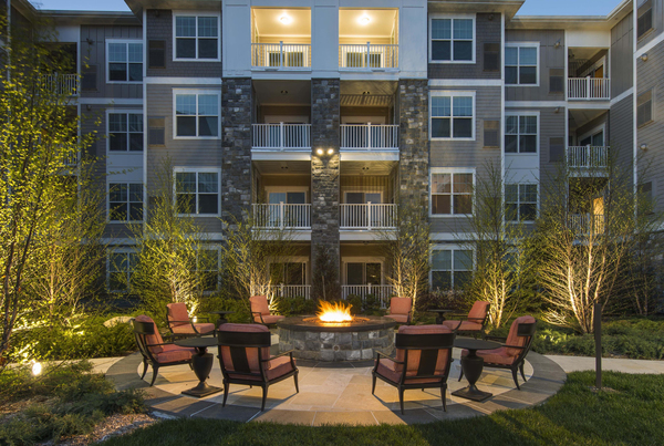 fire pit at Marq at the Pinehills Apartments