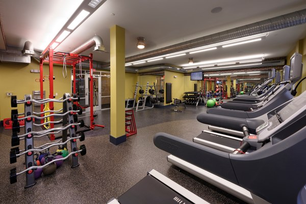 fitness center at Station 650 Apartments