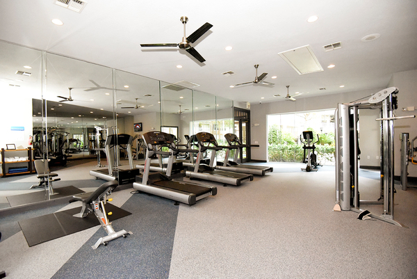 fitness center at Lodge at Kingwood Apartments