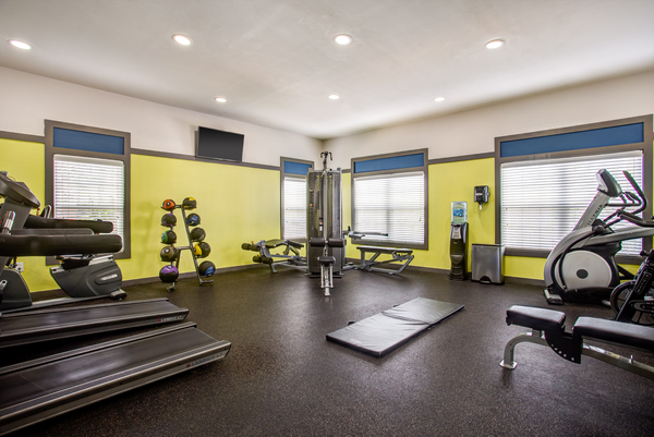 fitness center at Town Center at Lakeside Village Apartments