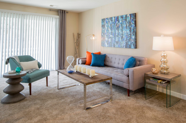 living room at Ellicott Grove Apartments