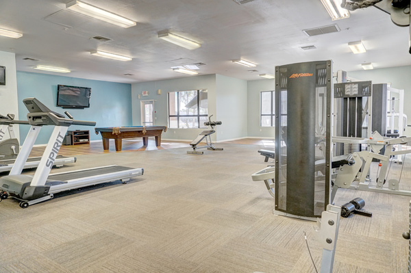 fitness center at The Colony Apartments