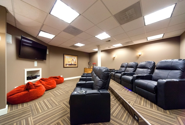 movie room at Bourbon Square Apartments