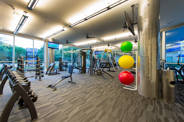 fitness center at Elan Memorial Park Luxury Apartments