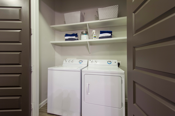 washer and dryer at Elan Memorial Park Luxury Apartments