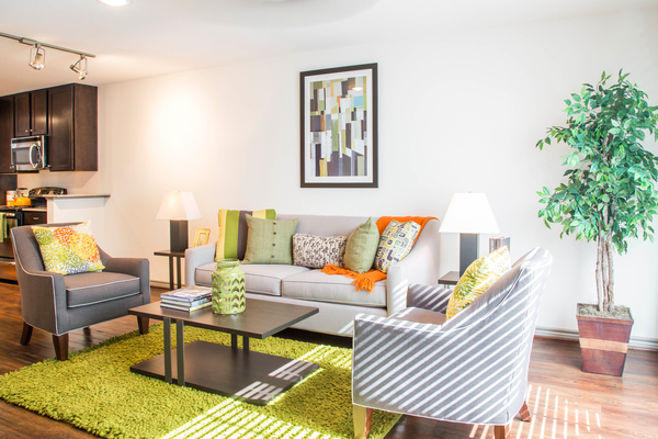 living room at Reserve at Garden Oaks Apartments