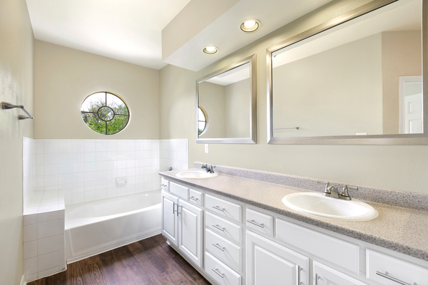 bathroom at The Boulevard at Town Lake Apartments