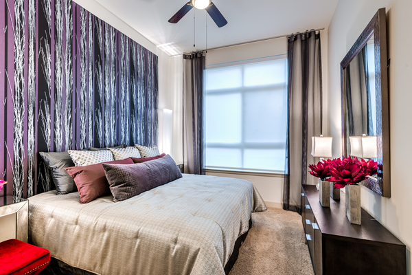 bedroom at WaterWall Place Luxury Apartments