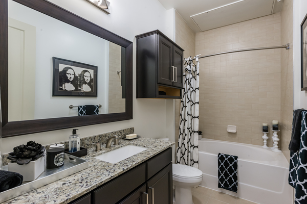 bathroom at WaterWall Place Luxury Apartments