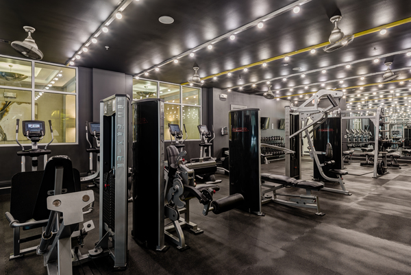 fitness center at WaterWall Place Luxury Apartments