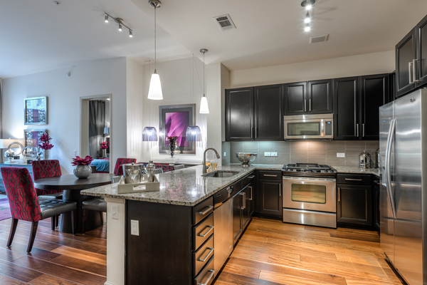 kitchen at WaterWall Place Luxury Apartments