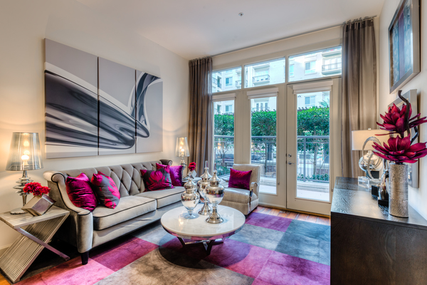 living room at WaterWall Place Luxury Apartments
