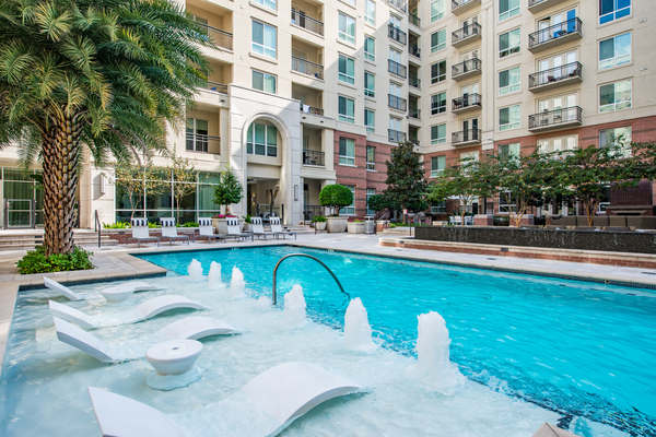 pool at WaterWall Place Luxury Apartments
