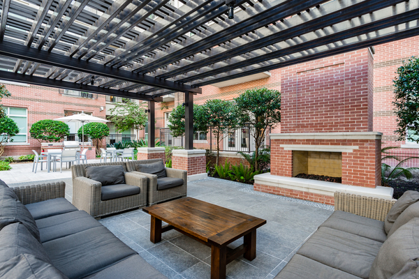 patio area at WaterWall Place Luxury Apartments