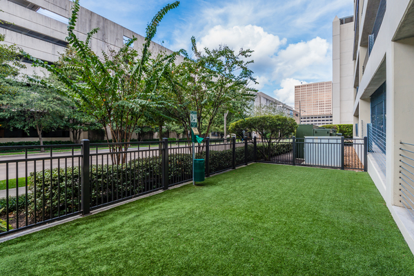 dog park at WaterWall Place Luxury Apartments