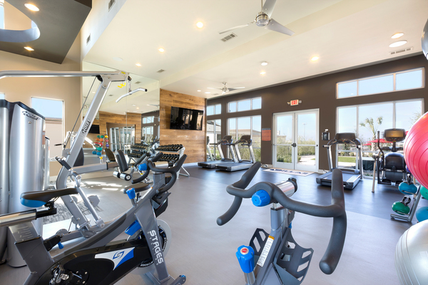 fitness room at Villas on the Hill Apartments