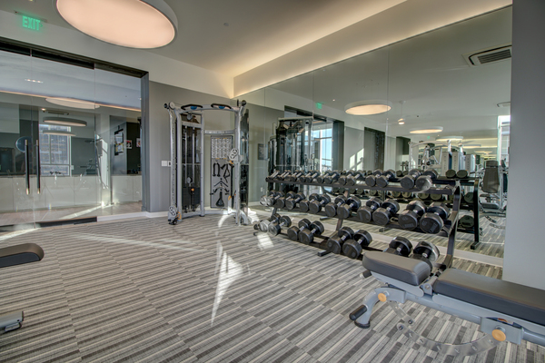 fitness center at The Southmore Apartments