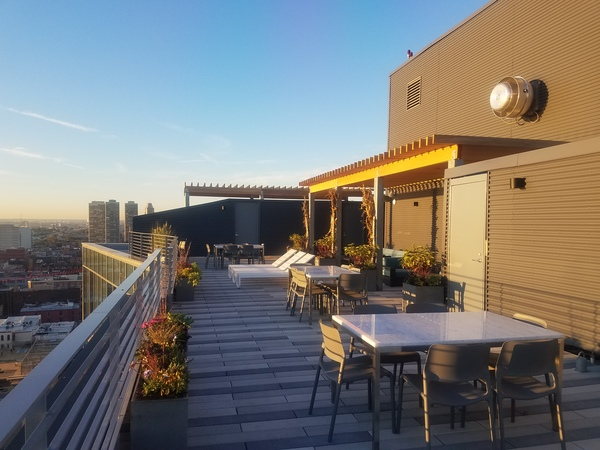 roof top patio at Bridge on Race Apartments