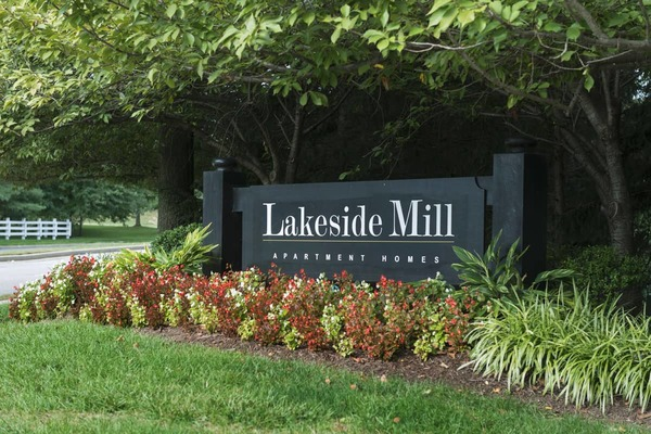 signage at Lakeside Mill Apartments