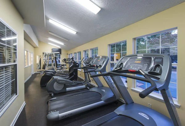 fitness center at Lakeside Mill Apartments