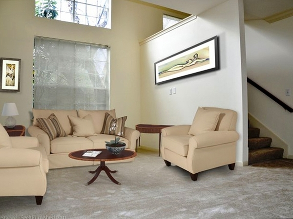 living room at Plaza at River Oaks Apartments