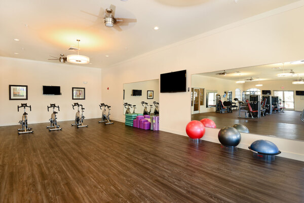 yoga/spin studio at Sanctuary at West Port Apartments