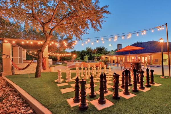 outdoor chess at Creekstone Apartments