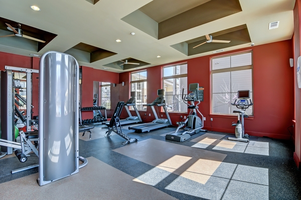fitness center at Encore 281 Apartments