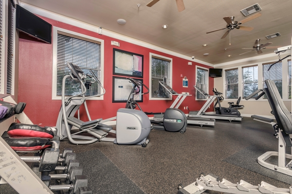 fitness room at Broadwater Apartments
