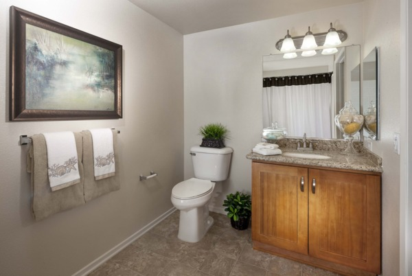 bathroom at Overture Riverwalk Apartments