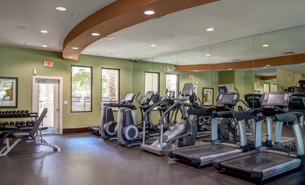 fitness center at The Circle at Hermann Park Apartments